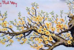 Gemstone painting - apricot flowers