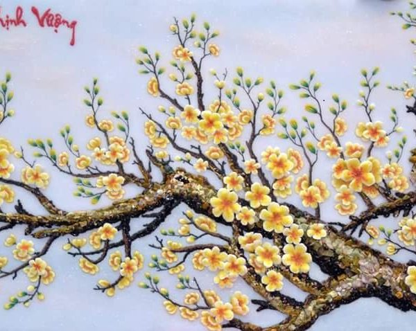 gemstone-painting-apricot-flowers