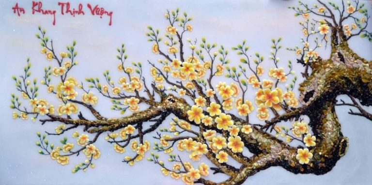 gemstone-painting-apricot-flowers