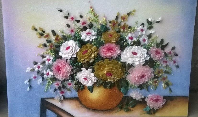 Gemstone painting - basket chrysanthemum 2