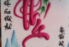 Gemstone painting - caligraphy