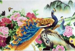 Gemstone painting - couple peacock 1