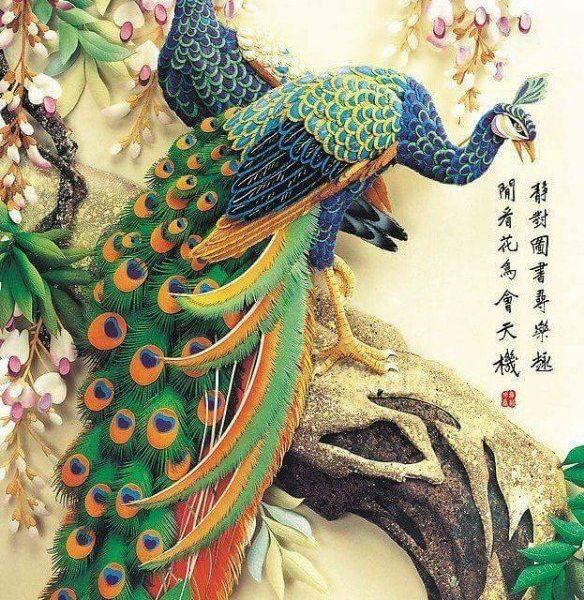 gemstone-painting-couple-peacock