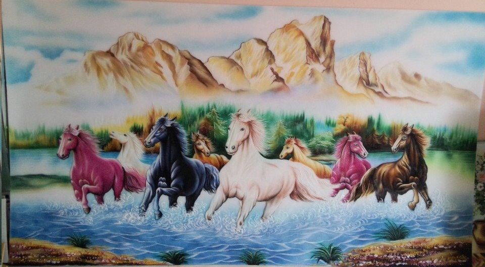 Gemstone painting - eight horse 12