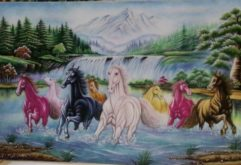 Gemstone painting - eight horse 14