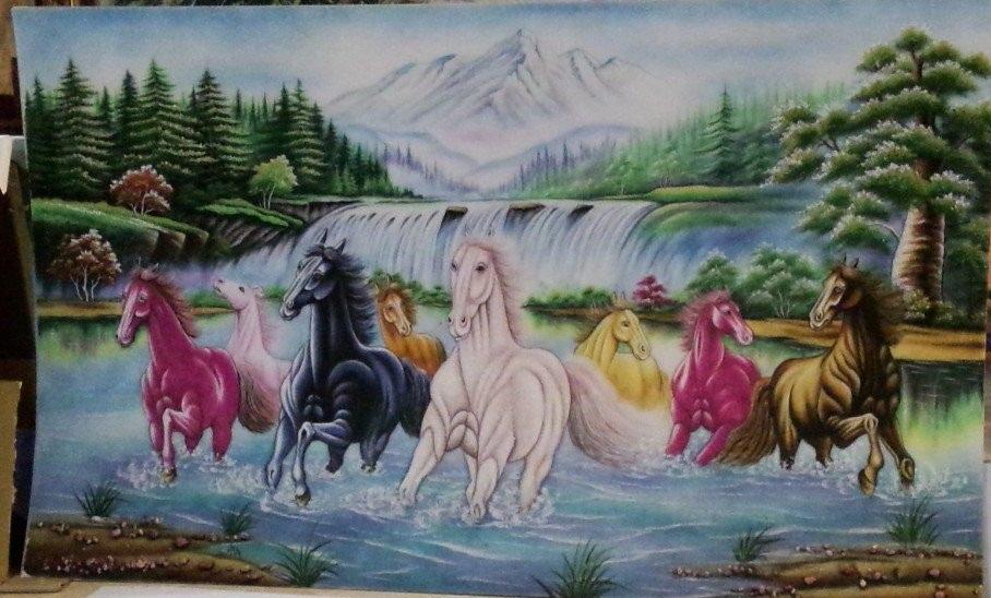 Gemstone painting - eight horse 14