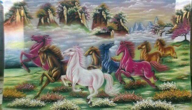 Gemstone painting - eight horse 15