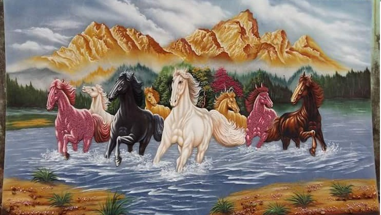 Gemstone painting - eight horse 16