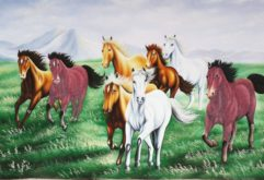 Gemstone painting - eight horse 18