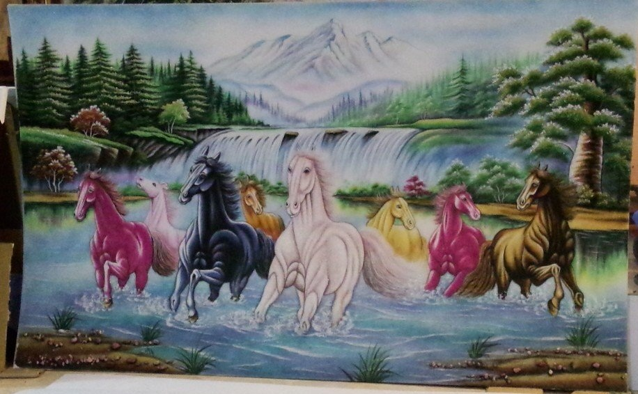 Gemstone painting - eight horse 2