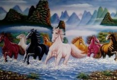 Gemstone painting - eight horse