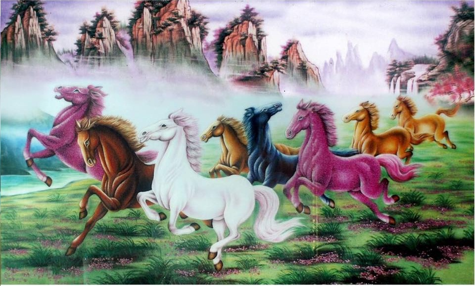 Gemstone painting - eight horse 3