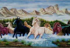 Gemstone painting - eight horse 4