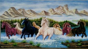 Gemstone painting - eight horse 4