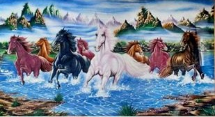 Gemstone painting - eight horse 5