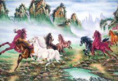 Gemstone painting - eight horse 6