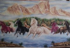 Gemstone painting - eight horse 9