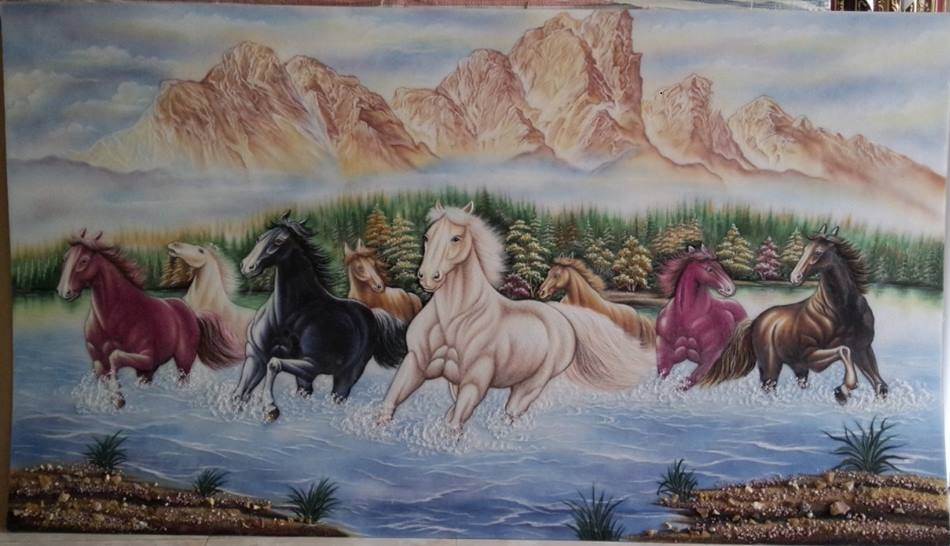 Gemstone painting - eight horse 9