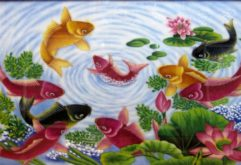 Gemstone painting - nine fish