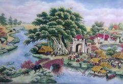 Gemstone painting - old vietnam's village