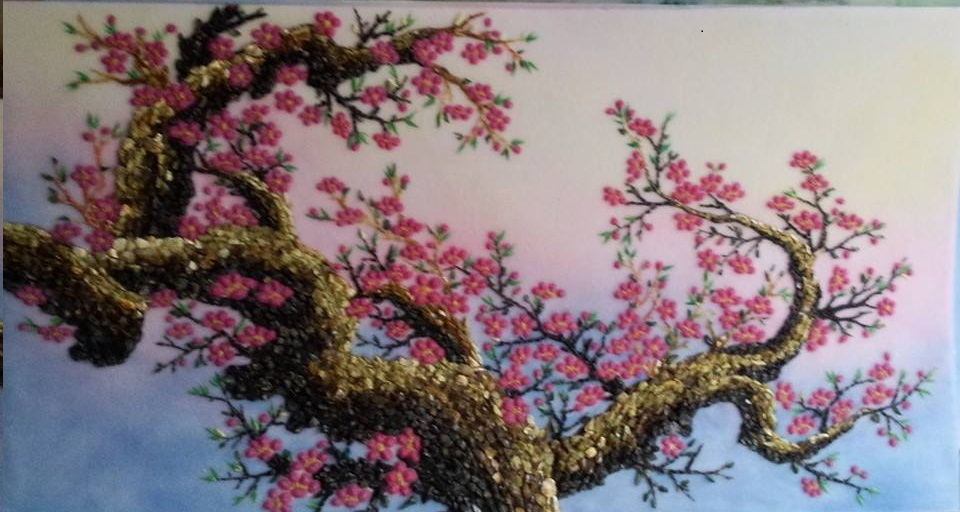 Gemstone painting - peach blossom 2