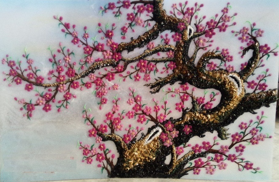 Gemstone painting - peach blossom 3