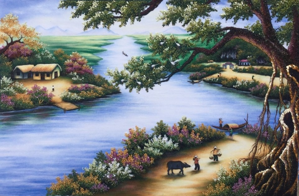 Gemstone painting - river's village Vietnam