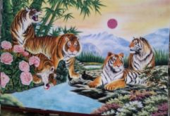 Gemstone painting, tiger 3