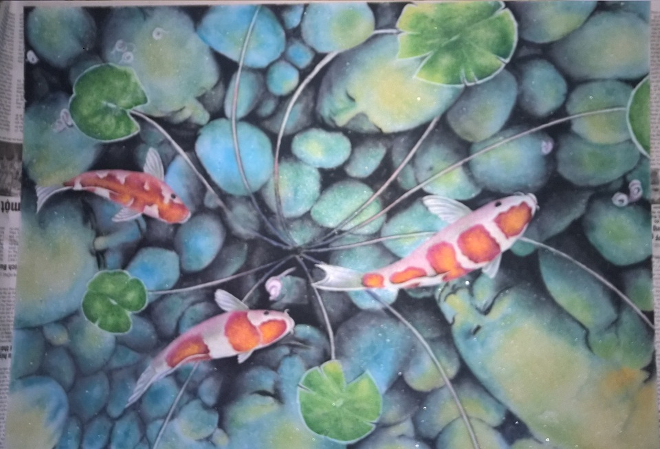 Gemstone painting fish art