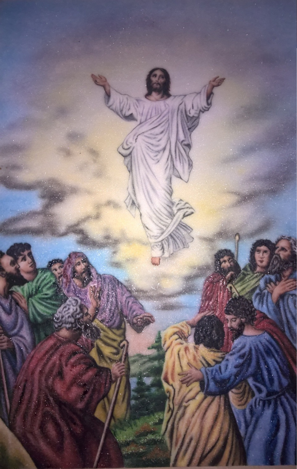 Gemstone painting ascension of Jesus