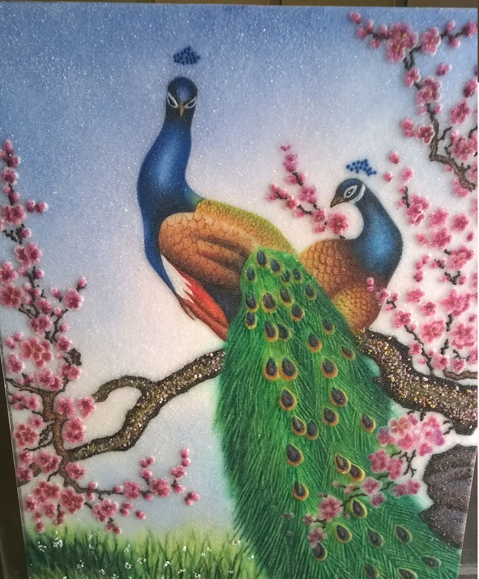 Gemstone painting couple Peacock