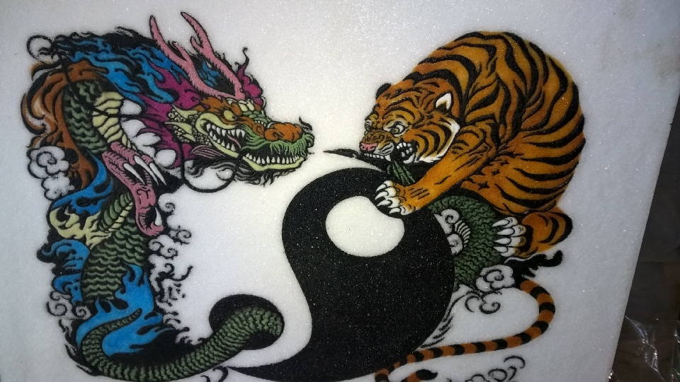 Gemstone painting dragon and tiger