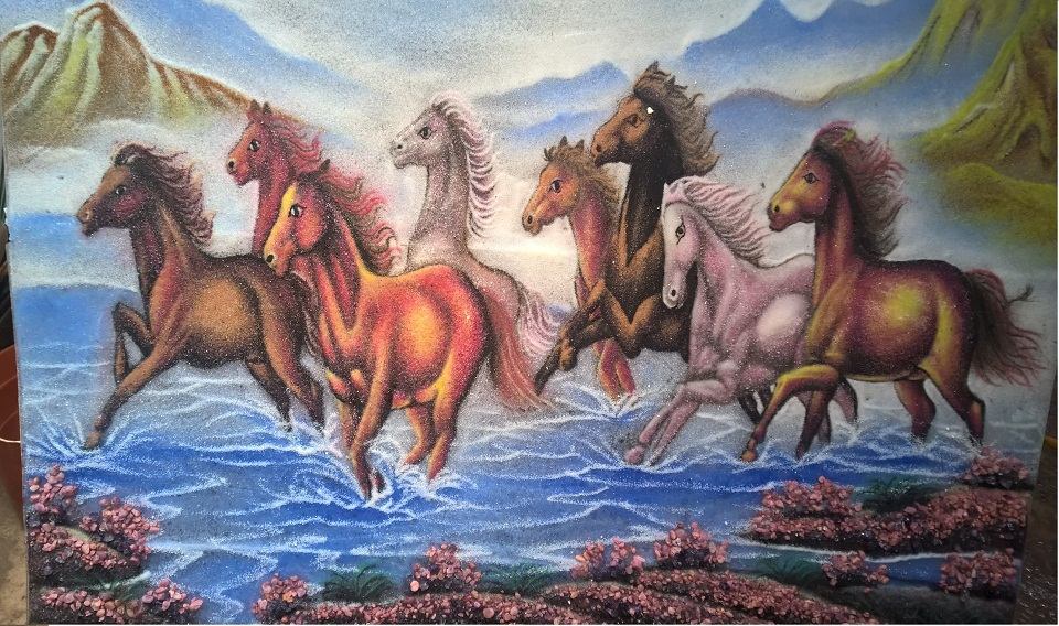Gemstone painting eight horse