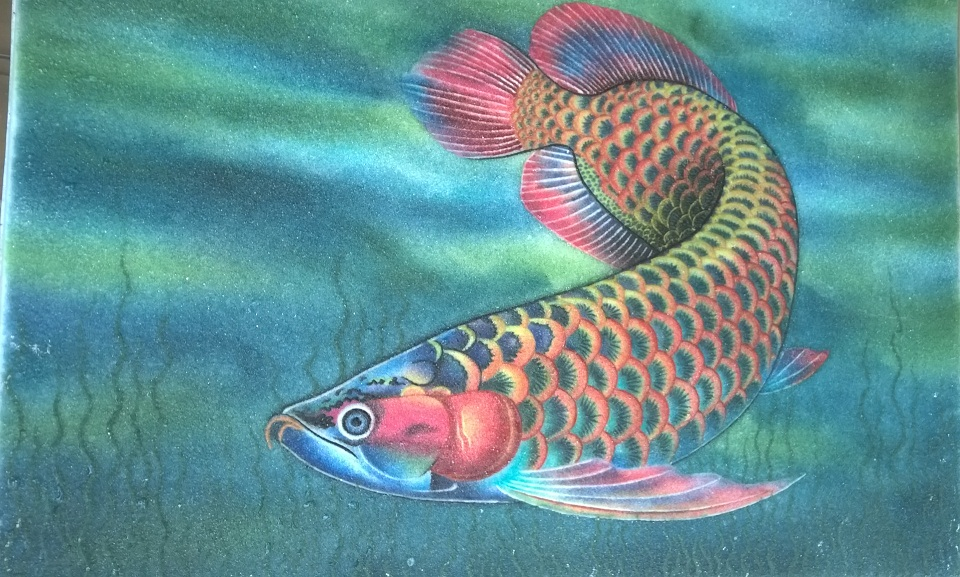 Gemstone painting fish 1