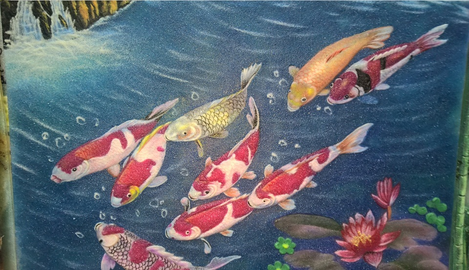 Gemstone painting nine fish 2