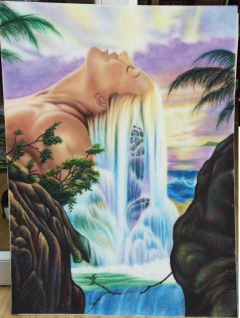 Gemstone paintning Lady's hair waterfall