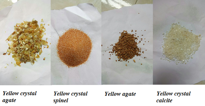 Gemstone material for light yellow to dark yellow
