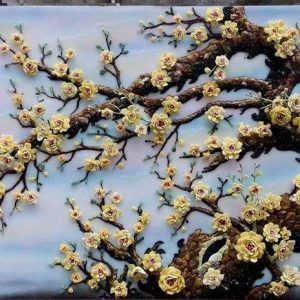 Gemstone painting - apricot flowers 1