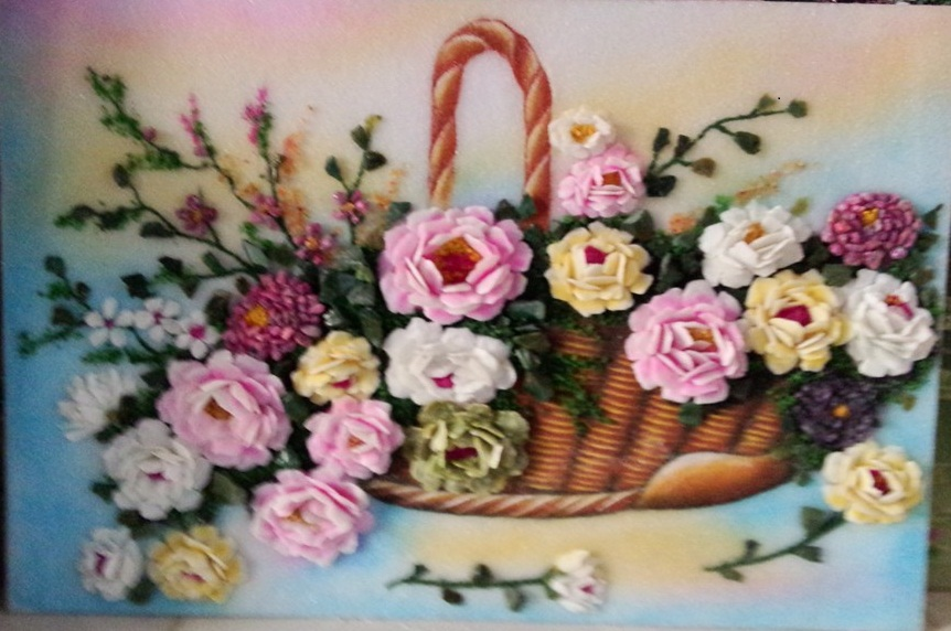 Gemstone painting - basket chrysanthemum