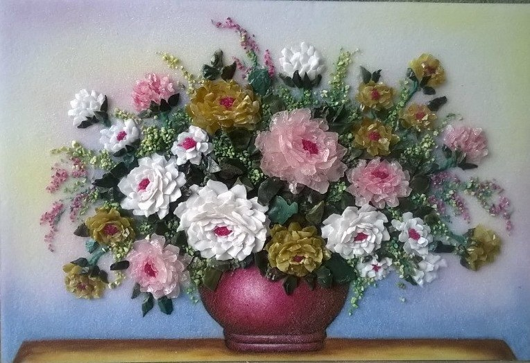 Gemstone painting - basket chrysanthemum 3