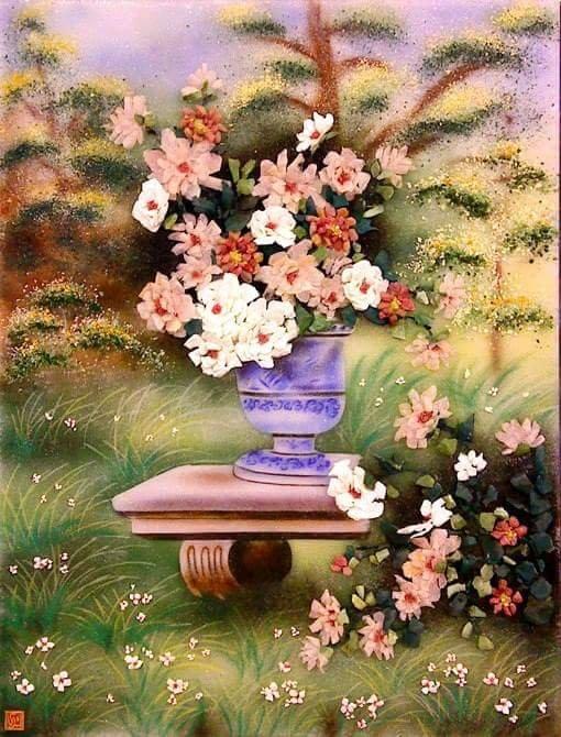 Gemstone painting - basket chrysanthemum 6