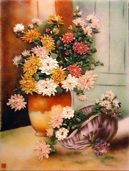 Gemstone painting - basket chrysanthemum 7