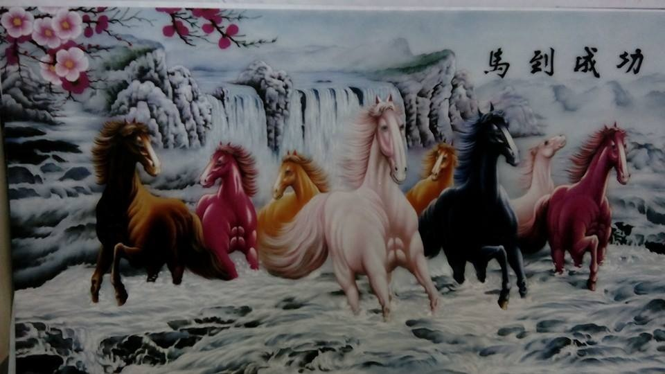 Gemstone painting - eight horse 1