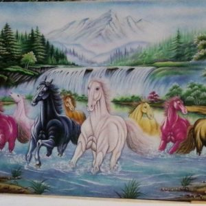 Gemstone painting - eight horse 13