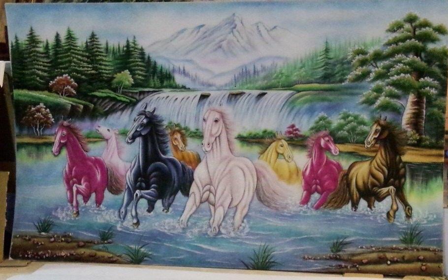 Gemstone painting - eight horse 13