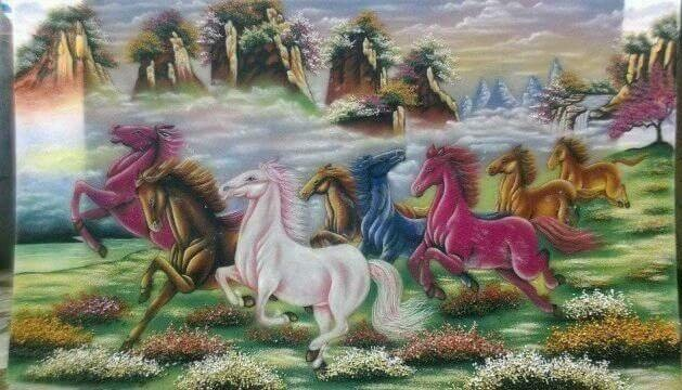 Gemstone painting - eight horse 15