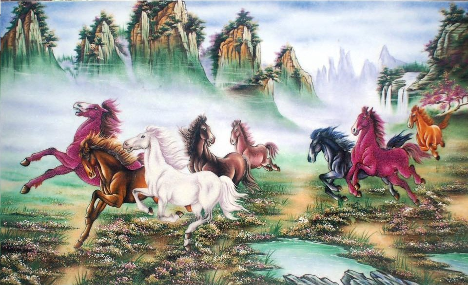 Gemstone painting - eight horse 6