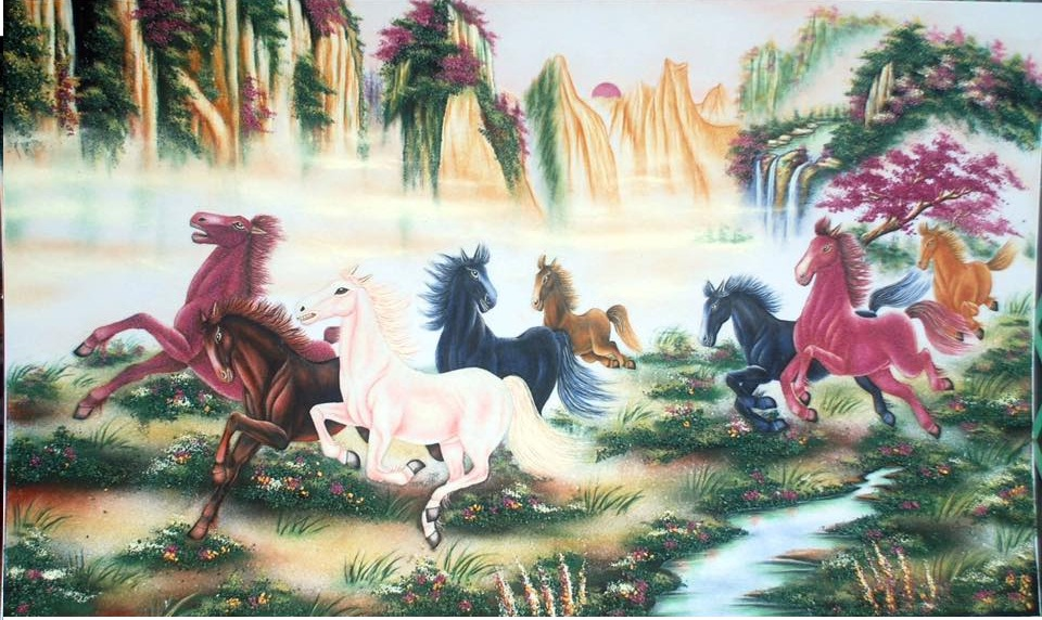 Gemstone painting - eight horse 7
