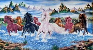 Gemstone painting - eight horse 8