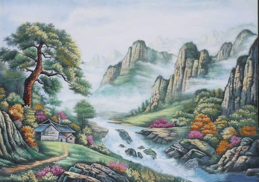 Gemstone painting - foreign landscape 23